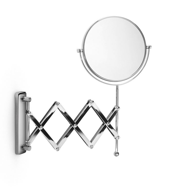 Magnificent Designer High End Modern Accordion Style Reversible Wall Mounted 3x Magnifying Bathroom Mirror