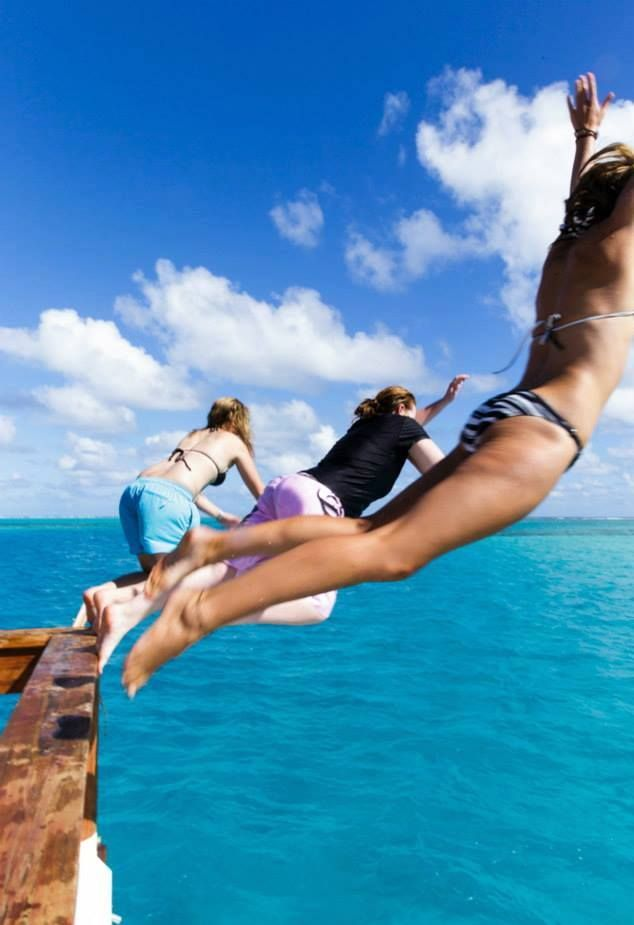 Taking the leap from Cloud 9! Guests love jumping into the clear blue Fijian water..