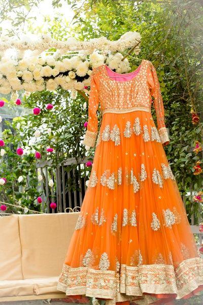 sikh bridal anarkali, orange, day wedding, anarkali, engagement, sangeet, sister of the bride, layered, gold, gota work, net, pleated, full flare, regal, royal,