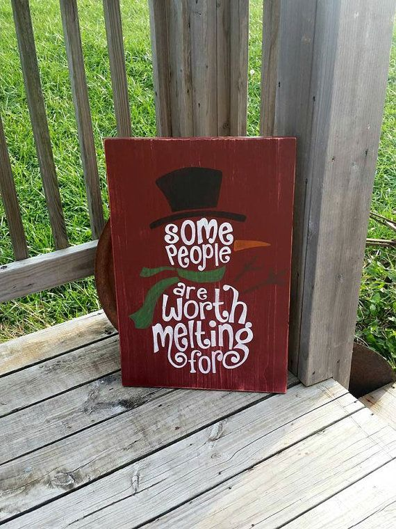 Snowman Sign  Winter Decor  Worth Melting by RusticLaneCreations