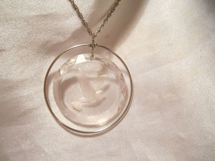 Hallmark Cards Inc. Vintage Clear Etched Plastic Pendant With Bird Necklace