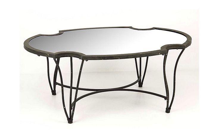 Mesa de centro oval con cristal   Material: Metal   Material: Forja y cristal... Eur:410 / $545.3