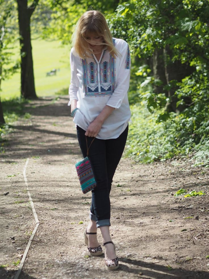 A Bright Embroidered Spring Summer Top and an Aztec Clutch