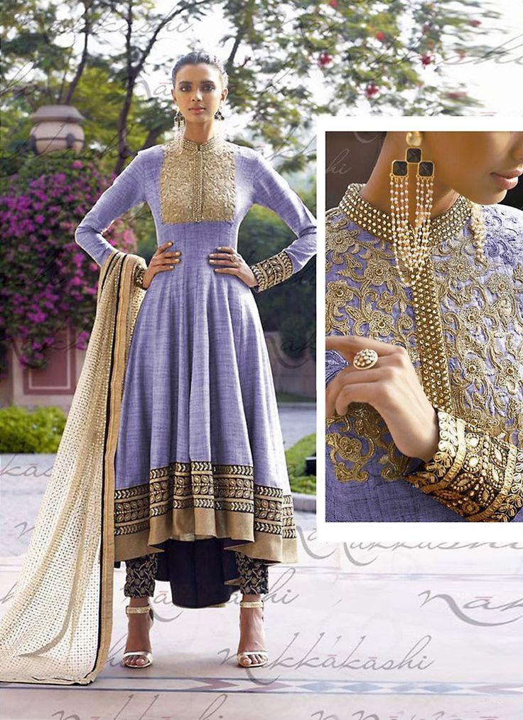 Anarkali Style Lavender with Butta Work Incredible Unstitched Salwar Kameez