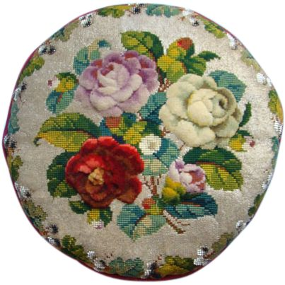 Victorian 19thC Beaded Beadwork Needlepoint Embroidery Pillow Raised Work Roses Leaves Berries Superb