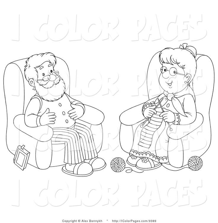 coloring pages for seniors | Coloring Page of a Coloring Page of a Senior Man and Woman Knitting by ...