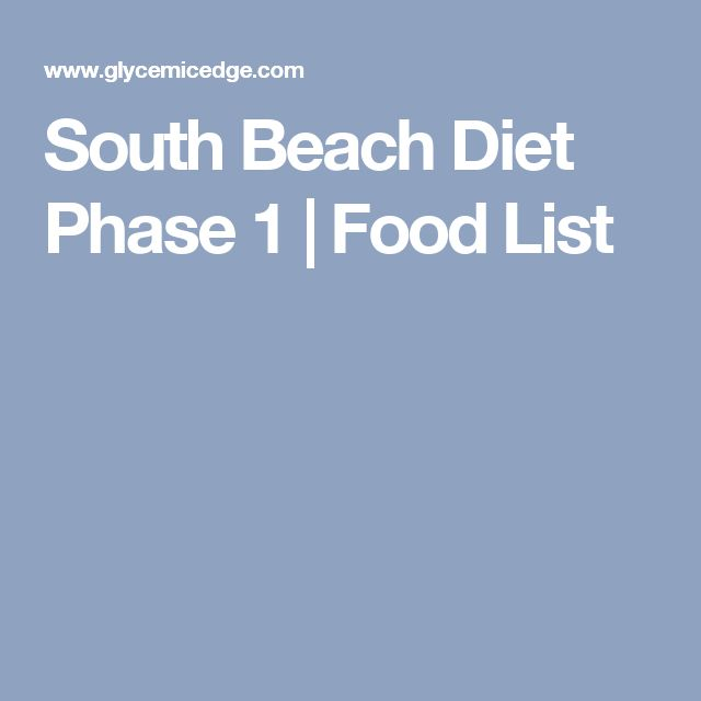South Beach Diet Phase 1 | Food List