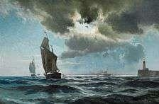 Carl Neumann (1833-1891):   Seascape with ships near a pier at night