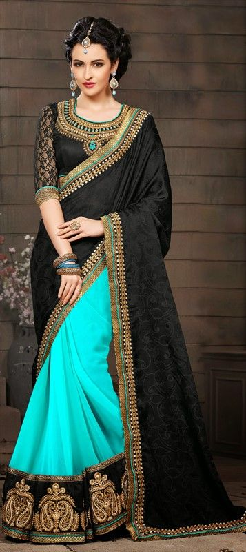 Black and Neon Blue Saree