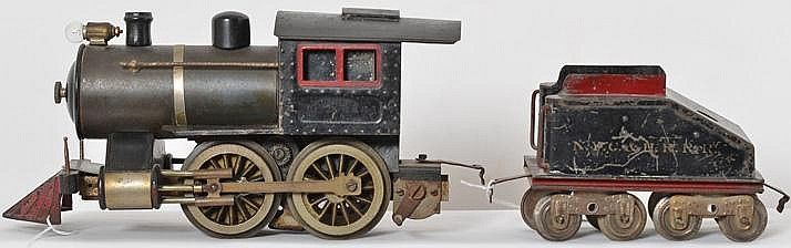 <b>Lionel prewar standard gauge No. 5 steam loco with tender</b> <br /> Lionel prewar standard gauge No. 5 steam engine with NYC&HRRR tender, loco has coal bunker detached but is included, C5-6.
