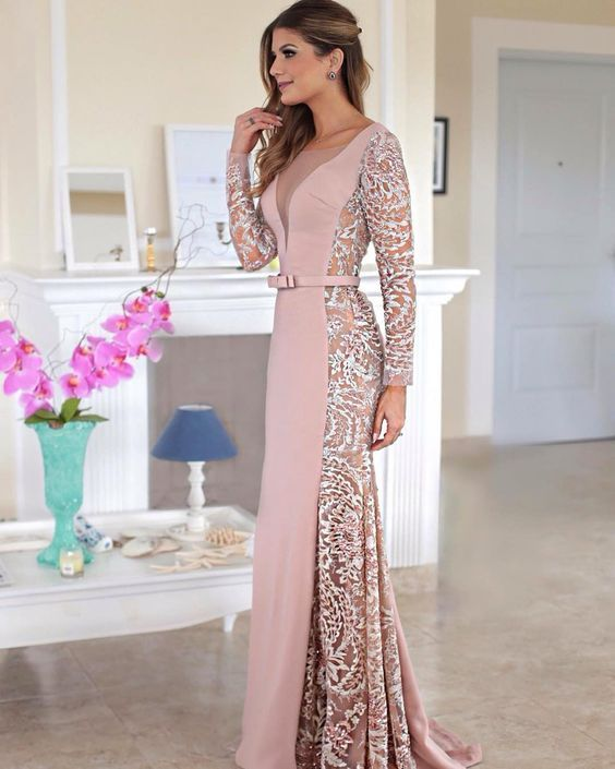 Pink Prom Dresses Mermaid Prom Dress With Long Sleeves Sexy Evening