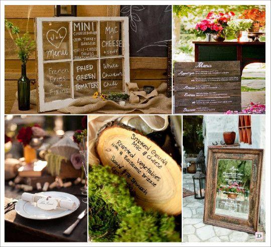 menu mariage retro vintage fenetre vitre parchemin rondin bois grave miroir id es mariage. Black Bedroom Furniture Sets. Home Design Ideas
