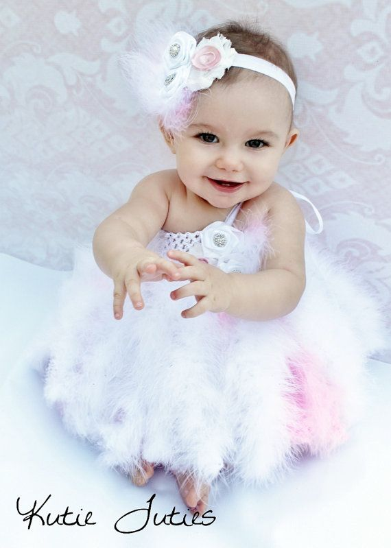 White And Pink Fur Feather Tutu Dress Infant By KutieTuties Birthday 1st Baby