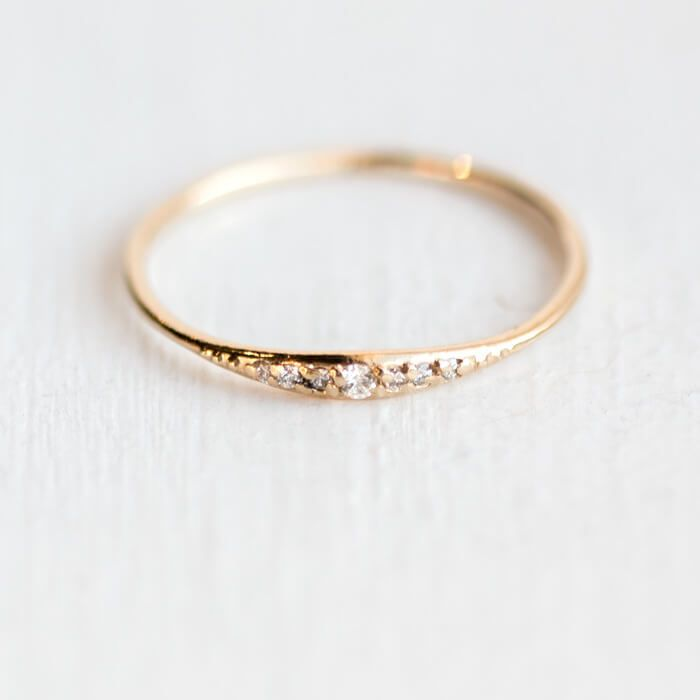 Diamond Tiny Line band in 14k Gold, tapered ring band with seven tiny white diamonds