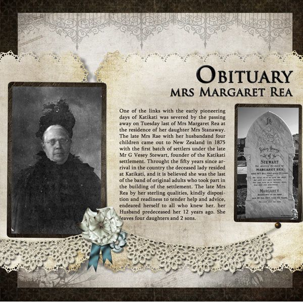 Obituary, Mrs. Margaret Rea...simple page with great use of heritage photos and genealogical information.
