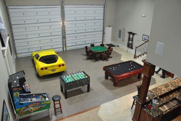 Great garage doors pool table poker table kitchen and a for Man cave storage