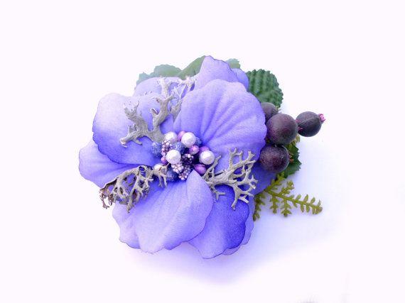 Lilac bridal hair flower Purple flower fascinator by LumilinA, $33.00
