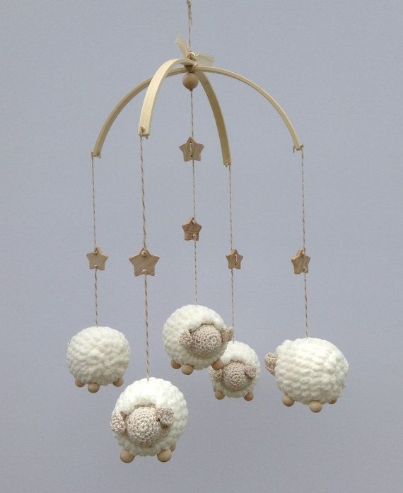 Baby Mobile, Nursery Mobile, Crochet Sheep Mobile, Lamb Mobile, Baby Gift, Childs Decor, Animal Mobile, Natural and Vanilla Crib Mobil