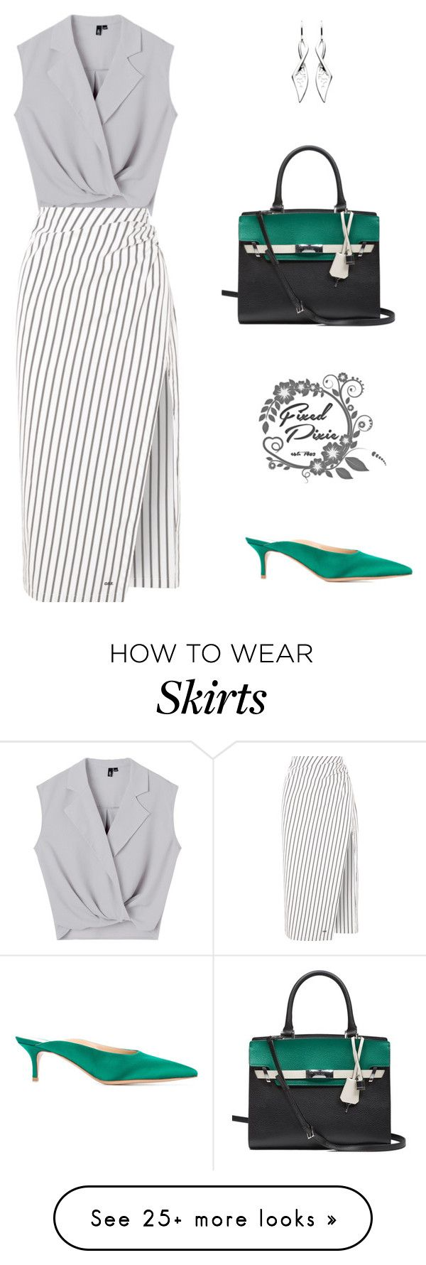 """Untitled #38"" by fixedpixie on Polyvore featuring Gianvito Rossi, Kit Heath, Calvin Klein, Off-White, GREEN, grey, feminine and pencilskirt"