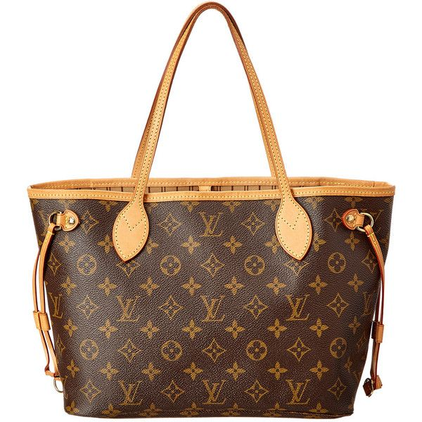Louis Vuitton Monogram Canvas Neverfull Pm (3,240 PEN) ❤ liked on Polyvore featuring bags, nocolor, shoulder strap bags, louis vuitton, brown canvas bag, brown bag and louis vuitton bags