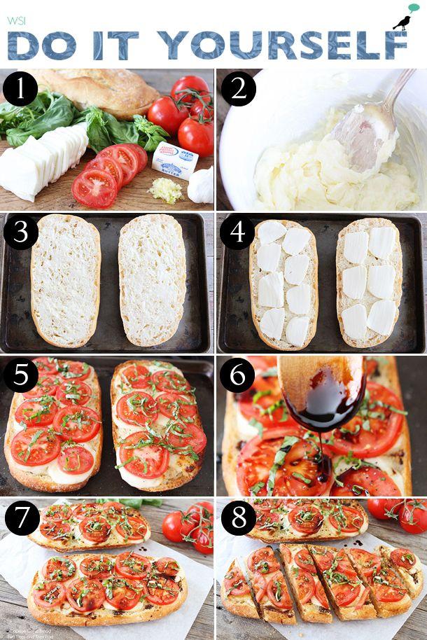 Bruschetta Caprese, receita entrada, bruschetta recipe