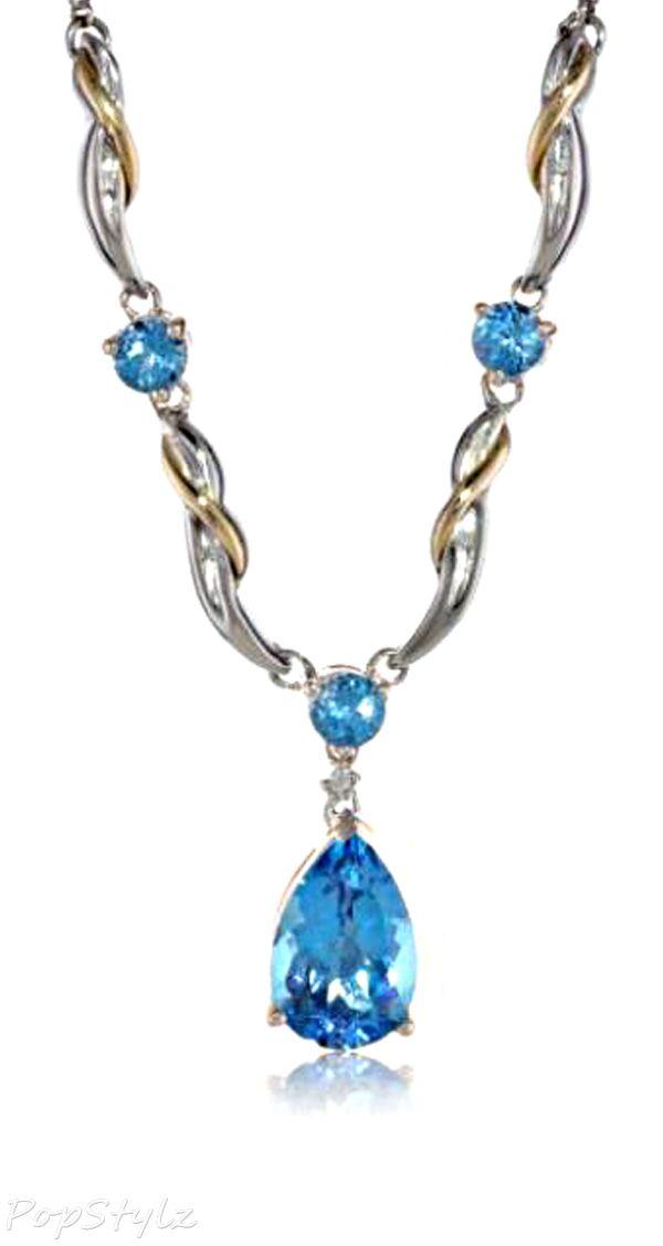 Diamond & Swiss Blue Topaz Necklace