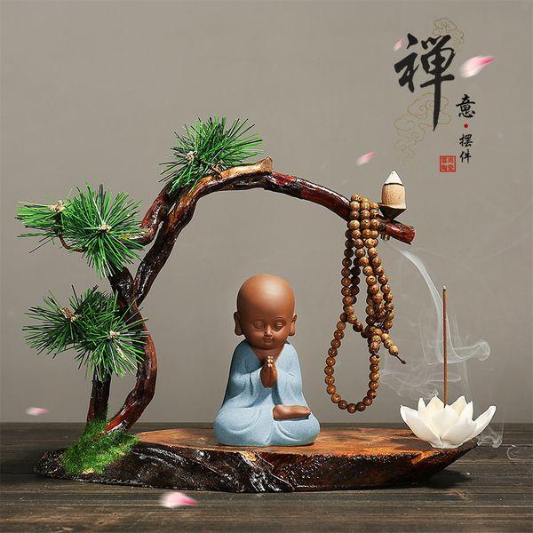 新中式禅意小和尚紫砂摆件 创意家居装饰品摆设风化木陶瓷工艺品