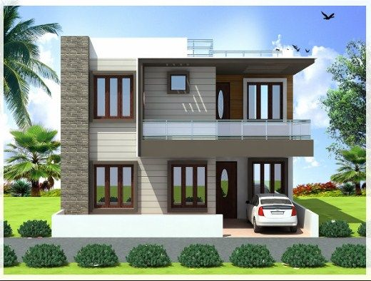 Duplex house front elevation designs for Front view of duplex house in india