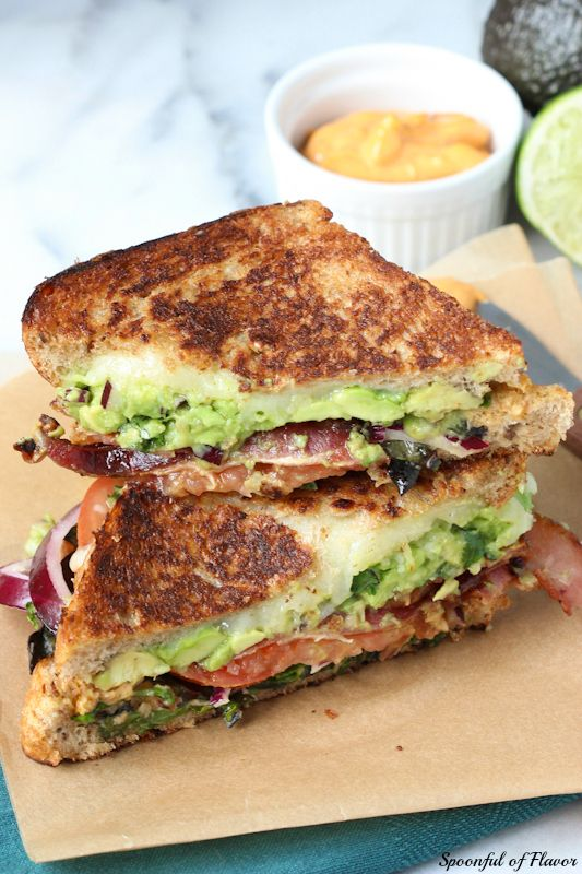 The Ultimate BLT Grilled Cheese - with guacamole, chipotle mayo and melty cheese.