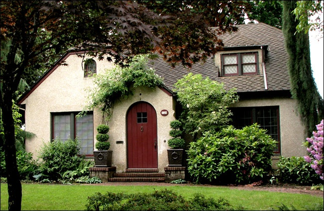 Stucco tudor cottage exterior house colors pinterest for English cottage style home plans