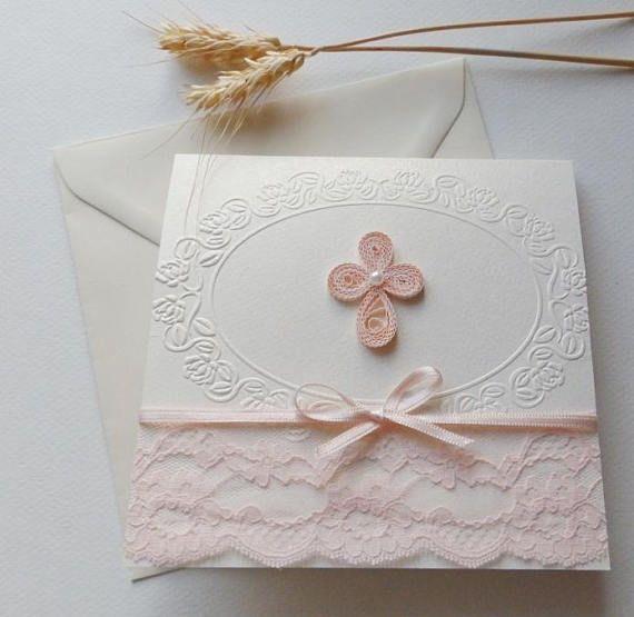 Handmade christening invitation/Quilling Cross