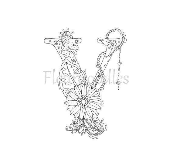 Malseite zum Ausdrucken  Buchstabe Y  floral von Fleurdoodles