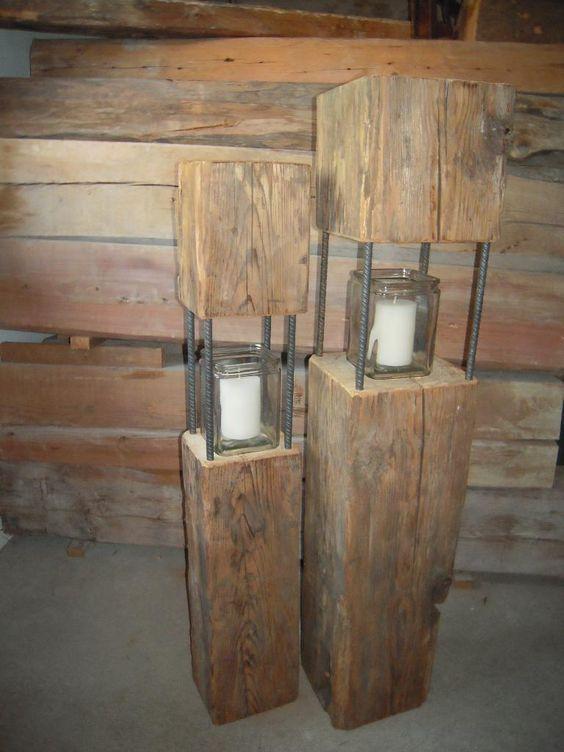 Habe einige Laternen aus Altholz, teils über 100 Jahre alten Balken abzugeben. Passen sehr gut als...,Laterne aus Altholz, Balken-Laterne, Deko-Balken in Bayern - Zeilarn