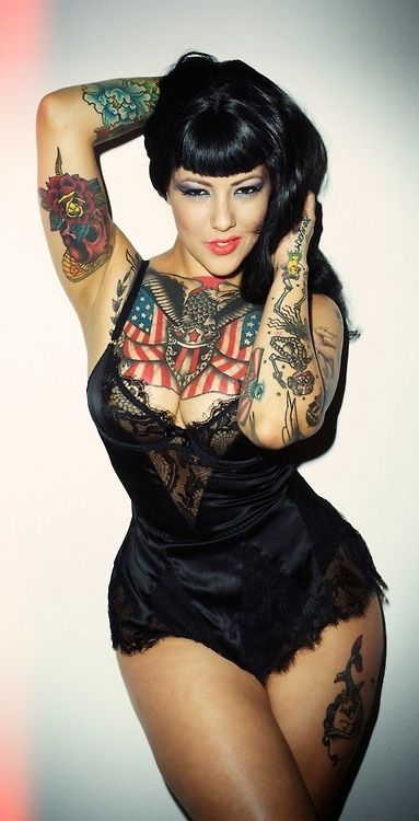 Ink, tattoo, Pin up girl. Plus Size, curves, voluptuous, beauty boost, fashion, style, outfit, inspiration.  #plussize #beautyboost..thinking bout a chest piece www.tattonew.com
