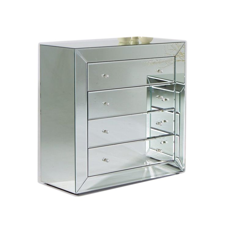 European Mirrored Chest Of 4 Drawers