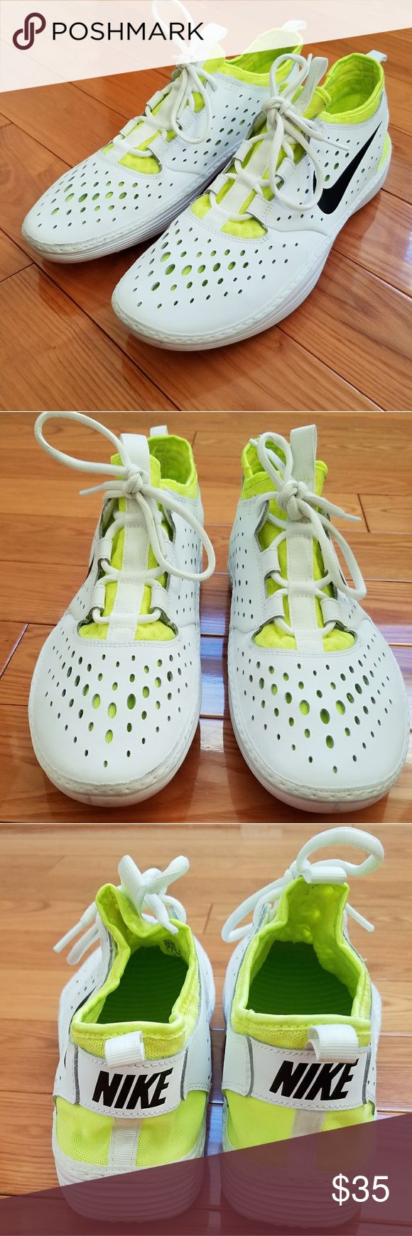 White and Neon Nike Sneakers Lightly worn Nike sneakers in men size US 11, women size US 13   Unisex style sneaker   White and Neon color with Nike swoosh detail   Message with offers Nike Shoes Sneakers