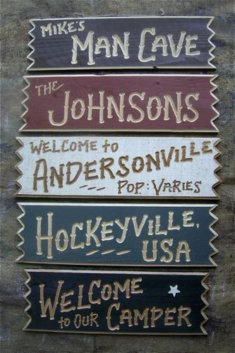 Personalized Carved Wood Lake Cabin RV Camper House Room Man Cave Signs. $16.95, via Etsy. For the cabin!