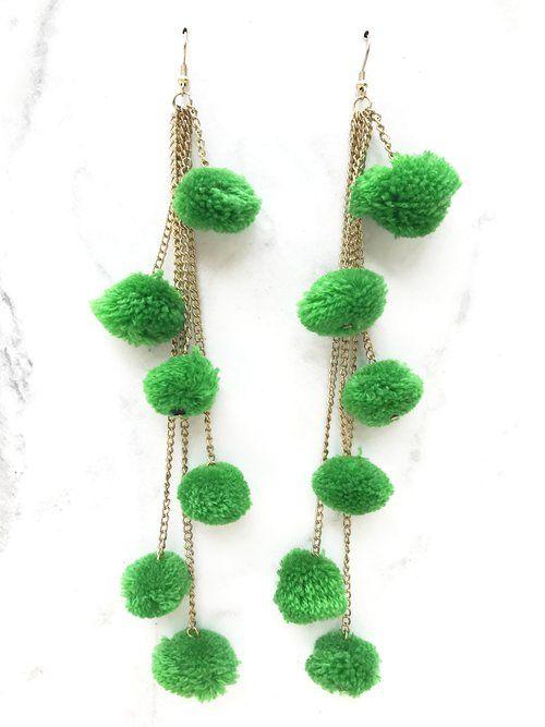 Green Pompom Chain Earring