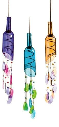 Wine bottle wind chimes