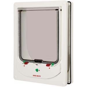 The Pet Mate Electronic Pet Doors are some of the most reliable cat and dog doors made. The doors themselves are identical, the only difference is the size of the collar tags. There are special tags for cats and larger tags for dogs. The Pet Mate electronic will control access into the house, but allow any animal to leave (Controlled access is in one direction).   https://www.moorepet.com/Animate-Electronic-p/animate-electronic.htm