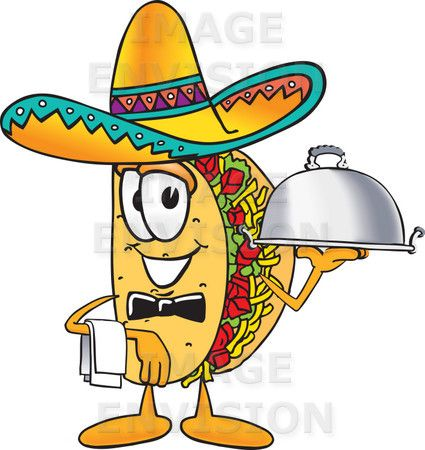 The classic cartoon taco.   This one is comedic because it is wearing a sombrero while serving food, which are both impossible feats for a taco. The sombrero also adds more comedic interest because the taco is Mexican by origin.   Quite exquisite design, with a nice addition of comedy.