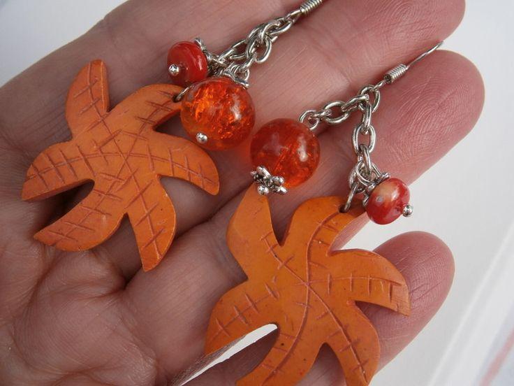 Ohrringe - Ohrringe Holz an Koralle Seestern - ein Designerstück von kunstpause bei DaWanda