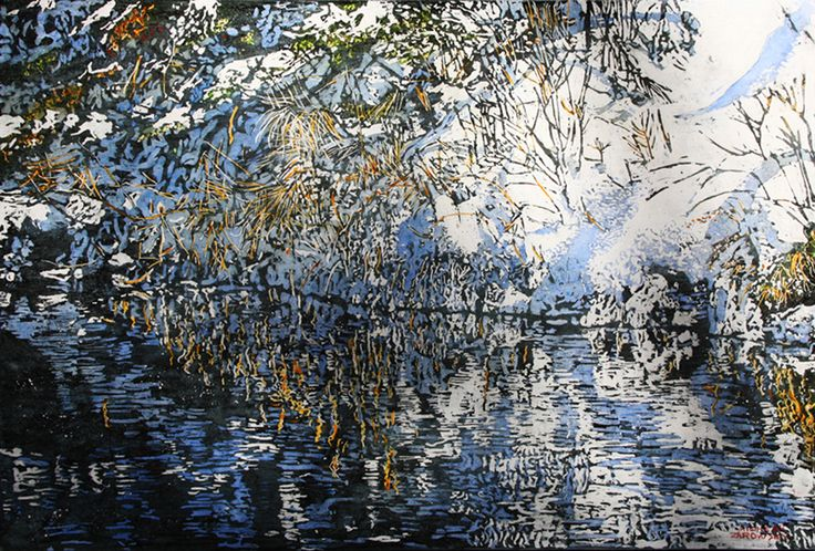 """daylight spills down riverbanks into pure black surfaces  24"""" x 35""""  micheal zarowsky / mixed media (watercolour / acrylic painted directly on gessoed birch panel) available   $ 2400.00"""
