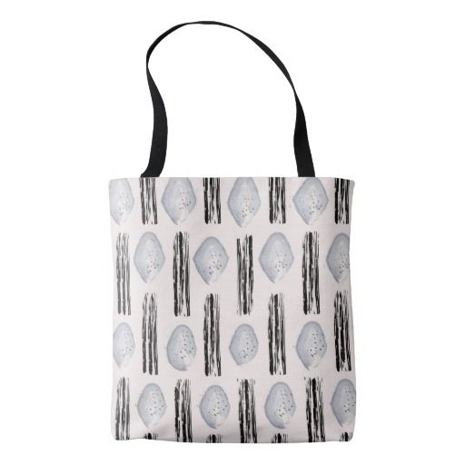 Tote bag with Black Silver shaped watercolor Art