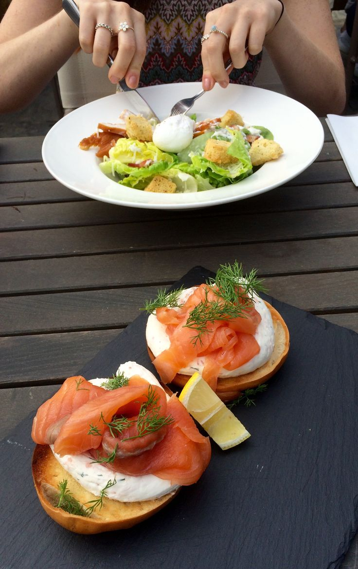 Caesar salad and smoked salmon and cream cheese bagel at The Black Hat, Ilkley.