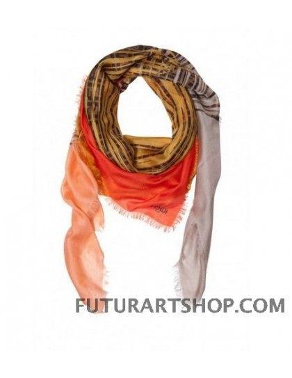 Fendi logo sciarpa arancione