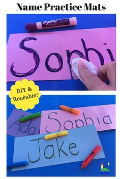 Help kids practice name writing with this DIY reusable name mat! This easy, DIY learning activity can help your preschooler learn to write his/her name. Your little student will think its fun to write and erase while they are building motor skills through this name writing practice. Get for preschool and kindergarten! #learning #namewriting