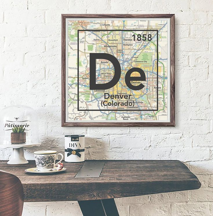 Denver Colorado De Vintage Periodic Map ART