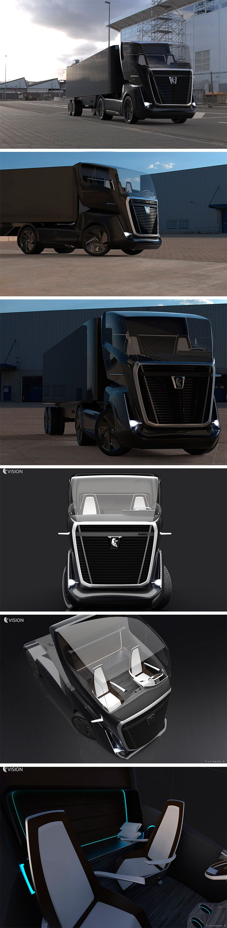 Artyom Trofimenko's concept KAMAZ Vision truck's design does what it can to minimize wind resistance with a slicked back panoramic top glass section and air-directing surfaces, in a menacing all black.