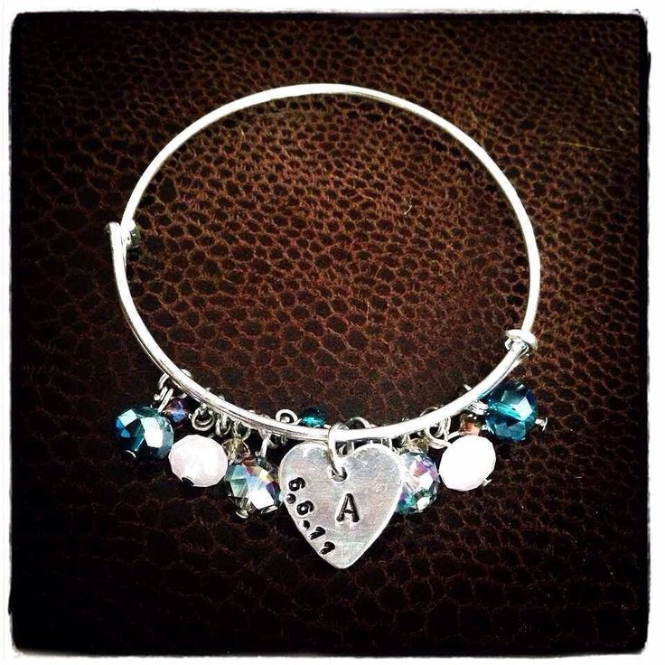 Handmade bangle with crystal beads and personalised tags x